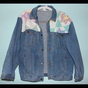 Vintage oversized denim jacket w/ patchwork